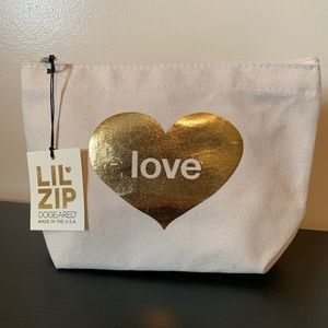 """Dogeared """"Love"""" gold foiled Lil zip Canvas Bag"""